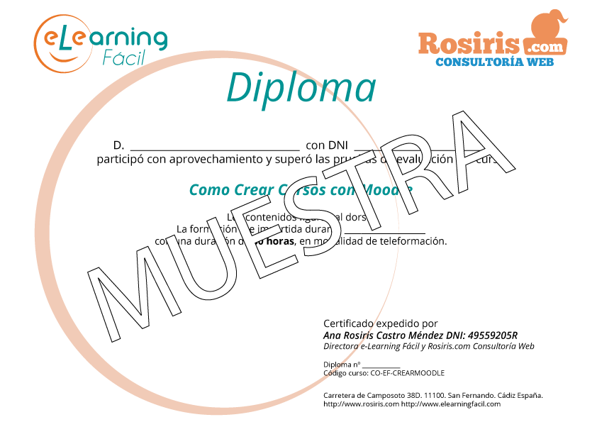 Diploma de Moodle. Crear Cursos con Moodle