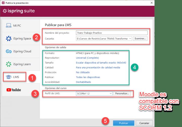 Exportar un SCORM con iSpring y publicar SCORM en Moodle
