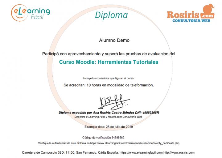 Diploma Curso Moodle Herramientas Tutoriales