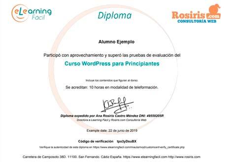 Diploma Curso WordPress para Principiantes