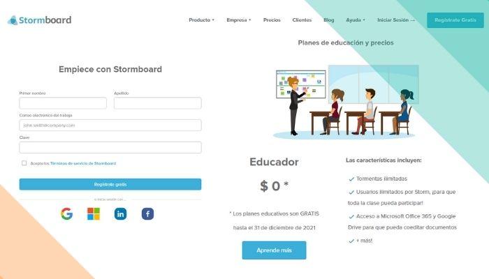 Crea tu cuenta de Stormboard para las clases