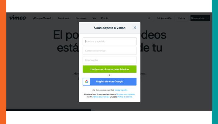 Crea tu cuenta Vimeo Basic